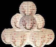Plum Blossom Paper Lantern Set w/ Light