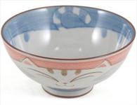 Smiling Pink Cat Porcelain Rice Bowl 4-1/2in