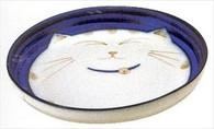 Smiling Blue Cat Porcelain Deep Dish 8-1/2in