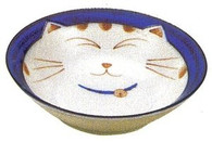 Smiling Blue Cat Porcelain Shallow Bowl 6-3/4in
