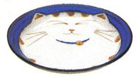 JapanBargain 2566, Japanese Smiling Blue Cat Porcelain Sauce Dish, 4.75 inch