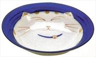 Smiling Blue Cat Porcelain Shallow Bowl 8-1/2in