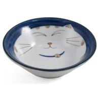 Smiling Blue Cat Porcelain Shallow Bowl 4-1/4in