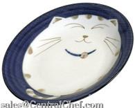 Smiling Blue Cat Porcelain Plate 7-3/4in