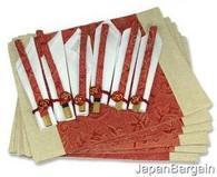 Oriental Placemat Chopsticks Napkin 6pc Set