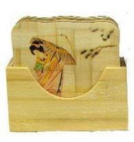 Set of 6 Geisha Bamboo Coasters