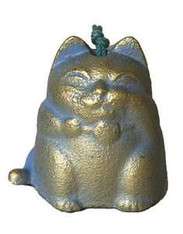 Japanese Cast Iron Gold Maneki Neko Lucky Cat Wind Chimes