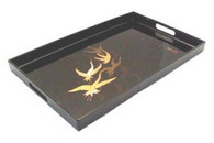 Japanese Crane Plastic Lacquer Dinner Serving Tray 19x12in