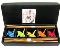 Bamboo Chopsticks w/ Color Porcelain Crane Chopsticks Rests Set #1073