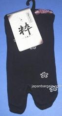 Womens Tabi Sock Sakura & Usagi Black