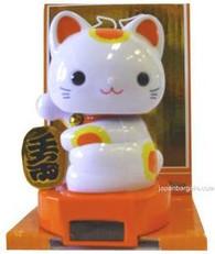 Orange Solar Powered Maneki Neko Lucky Cat