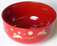 Japanese Plastic Soup Bowl Red Bunny Usagi