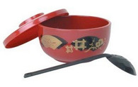 Japanese Soba Donburi Noodle Bowl w/ Ladle Red