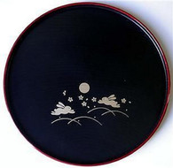 Japanese Sushi Dinner Serving Plate Round Black Bunny