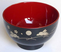 Japanese Plastic Rice Bowl Black Bunny Usagi