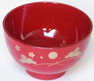 Japanese Plastic Rice Bowl Red Bunny Usagi