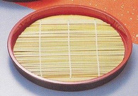 Round Soba Noodle Serving Tray w/ Bamboo Mat