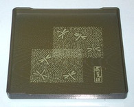 Square Japanese Plastic Snack Plate Green Dragonfly