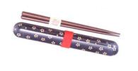 Japanese Travel Chopsticks w/Case Sakura Blue