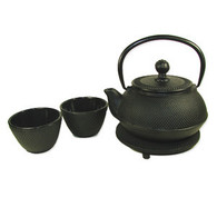 Cast Iron Tea Set 24oz Hobnail Black