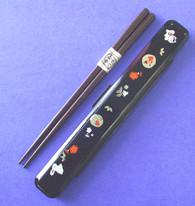 Japanese Travel Chopsticks w/Case Neko Black