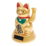 Solar Powered Maneki Neko Lucky Cat Gold