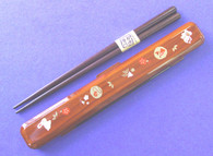 Japanese Travel Chopsticks w/Case Neko Red