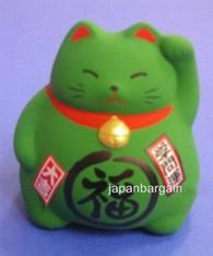 Green Ceramic Maneki Neko Lucky Cat