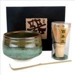 Japanese Matcha Tea Ceremony Set Bowl Whisk Chasen Green