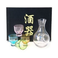 Glass Sake Set One Bottle Four Cups