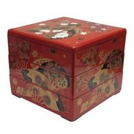 Jubako Stack Box 3 Tiers Red Fan