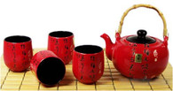 JapanBargain 3332, Large Japanese Chinese Porcelain Tea Set Teapot and Four Cups, Red Kanji Calligraphy