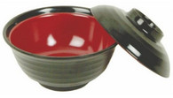 Black/Red Melamie Miso Soup Vegetable Bowl With Lid 10oz