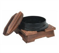 Cast Iron Nabe Bowl with Wooden Lid and Base
