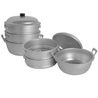 Big Hole Aluminum Steamer with Bottom and Lid 17in