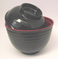 Black/Red Melamie Miso Soup Vegetable Bowl With Lid 8oz