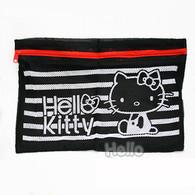Sanrio Hello Kitty Black Mesh Pouch w Zipper