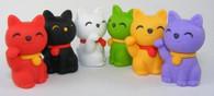 6 pieces Iwako erasers - Maneki Neko Lucky Cat (Color May Vary)