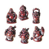 Set of 6 Lucky Laughing Buddha Statue Rosewood Color