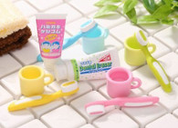 6 pieces Iwako erasers - Toothbrush & Toothpaste (Color May Vary)
