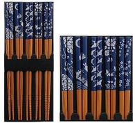 5 Pair Bamboo Chopsticks Blue Japanese Print #8881