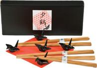 Bamboo Chopsticks w/ Black Porcelain Crane Chopsticks Rests Set #1066