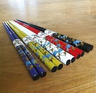 5 Pair Bamboo Chopsticks Crane #0394