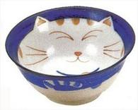 Smiling Blue Cat Porcelain Rice Bowl 5-1/8in