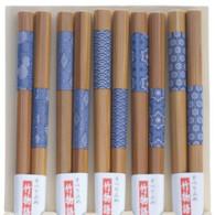 5 Pairs Bamboo Chopstick Gift Set Blue