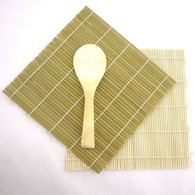 Green/Yellow Bamboo Sushi Mat With Rice Paddle Set
