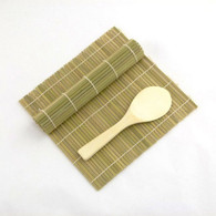 Green/Green Bamboo Sushi Mat With Rice Paddle Set