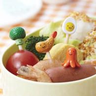Broccoli Octopus Shrimp Egg shaped Food Picks 8pc #9239