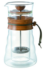 Hario Coffee Press Double Wall Glass Olive Wood French DGC-40-OV