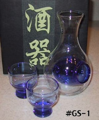 Glass Sake Set Blue
